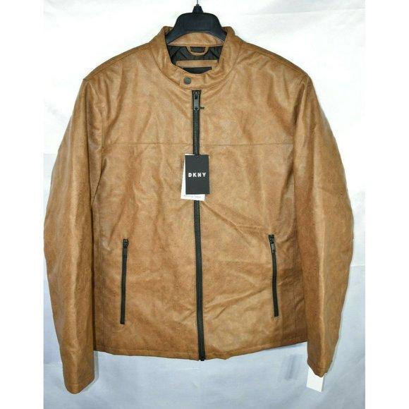 DKNY Men/'s Classic Faux Leather Bomber Jacket Black NwT Size S Racer Jacket